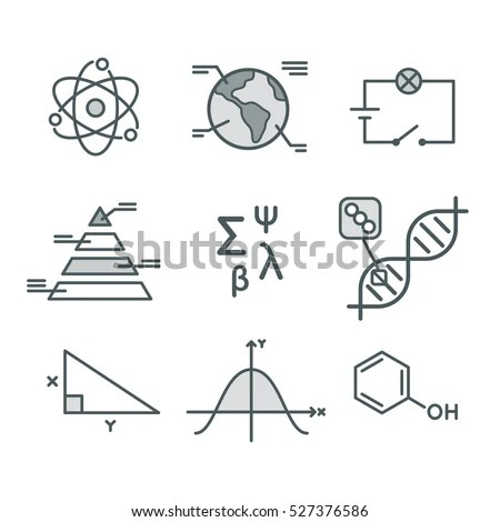 Science Symbols Set Mathematical Functions Chemistry 스톡 벡터