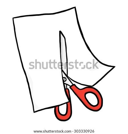 Scissors Cutting White Paper Cartoon Vector Stock Vector