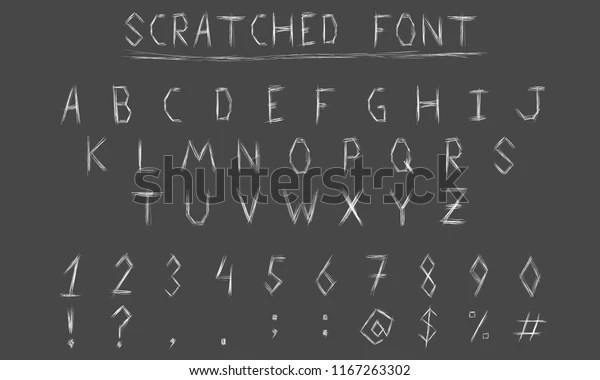 Scratch Font Hand Draw Alphabet On Stock Vector Royalty Free 1167263302