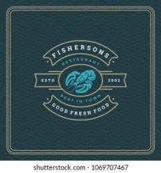 lobster silhouette vector seafood restaurant emblem typography badge market shutterstock vectors royalty