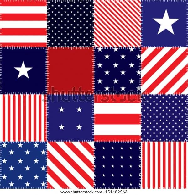 Seamless Background Pattern Patchwork American Flag庫存向量圖 (免版稅) 151482563