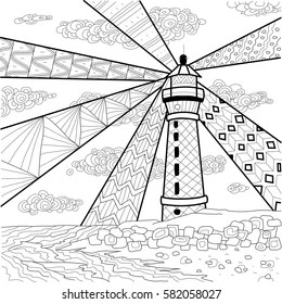 lighthouse black and white Stock Vectors, Images & Vector