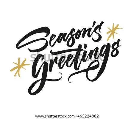 Seasons Greetings Hand Drawn Creative Calligraphy Stock