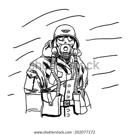 Second World War Soldier Gas Mask Stock Vector (Royalty