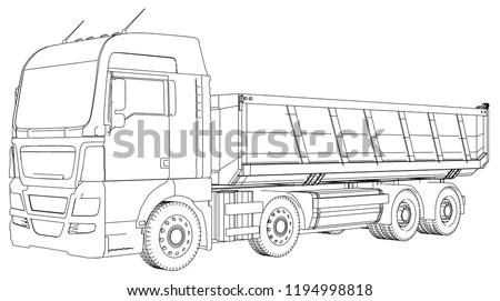 Semitrailer Dump Truck Sketch Isolated On Stock Vector
