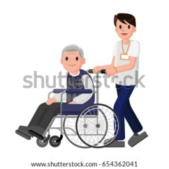 Wheelchair Man Best Gaming Computer Chairs Senior Careful Young Stock Vector Royalty Free In With Volunteer Caring For Elderly Adult