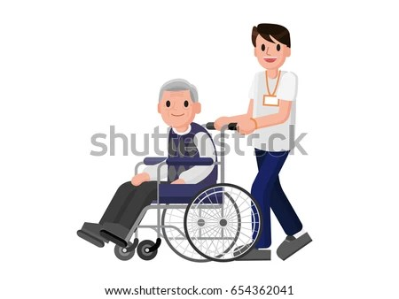 wheelchair man big joe lumin chair multiple colors senior careful young stock vector royalty free in with volunteer caring for elderly adult