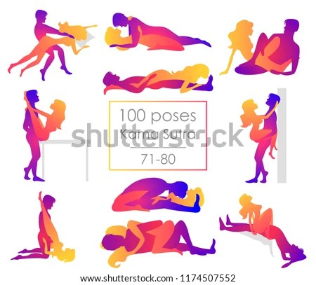 Set 10 Kama Sutra Positions Man And Woman On White Background Sex Poses Illustration
