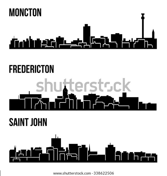 Set 3 City Silhouette New Brunswick Stock Vector (Royalty