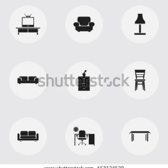 Sofa And More Muji Compact Set 9 Editable Furnishings Icons Includes Stock Vector Royalty Free Symbols Such As Tv Davenport