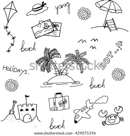 Set Beach Doodle Vector Art Illustration Stock Vector
