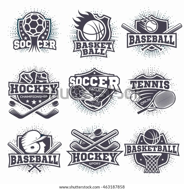 Set Black White Sport Club Logos Stock Vector (Royalty