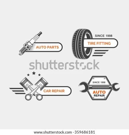 Set Car Service Auto Repair Auto Stock Vector (Royalty