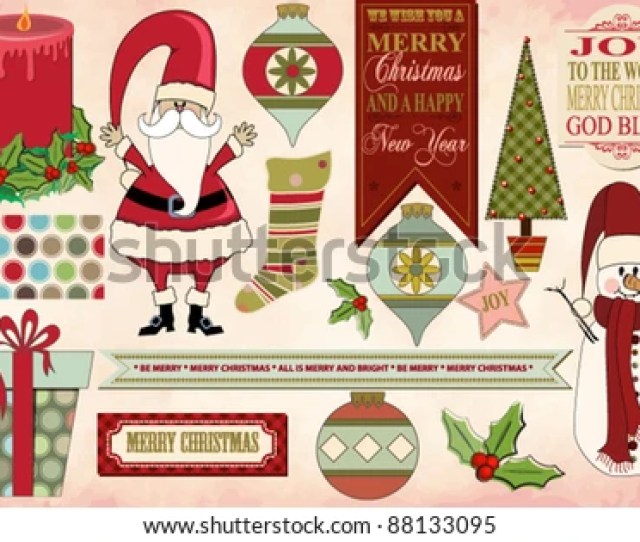 Set Of Christmas Clip Art Images And Banners With Christmas Pattern And Vintage Christmas Background