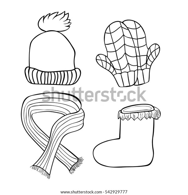 Set Coloring Hats Mittens Boots Scarf Stock Vector