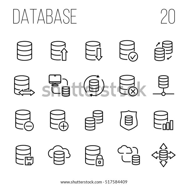 Set Database Icons Modern Thin Line Stock Vector (Royalty