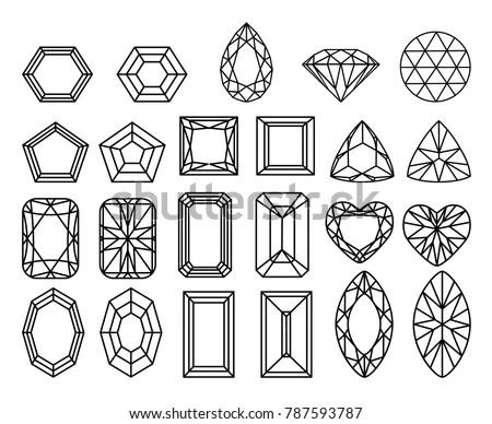 Set Diamonds Precious Stones Different Forms Stock Vector