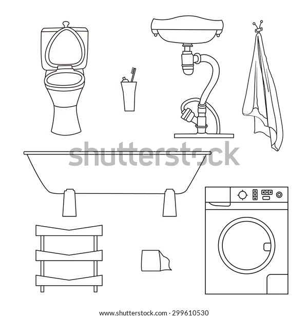 Set Drawn Sketches Bathroom Items Objects Stock Vector Royalty Free 299610530