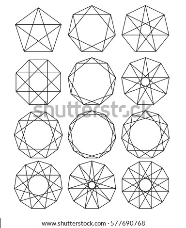 Set Geometric Shapes Sacred Geometry Lines Stock Vector