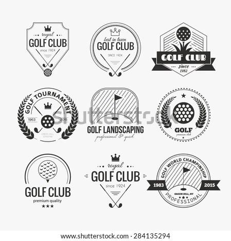 Set Golf Club Logo Templates Hipster Stock Vector (Royalty