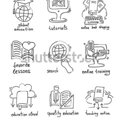 Sketch Diagram Online Mono Pump Wiring Set Hand Drawing Icons Distance Stock Vector Royalty Free Of Education And Learning Concept Illustration
