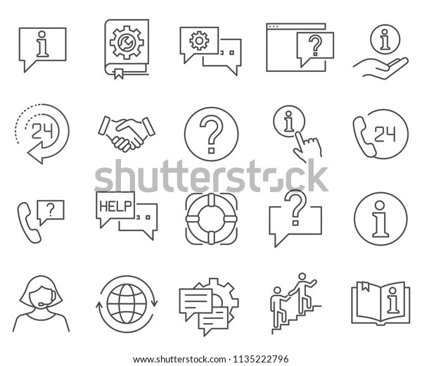Set Help Related Vector Line Icons Stock Vector (Royalty