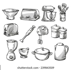 kitchen vessels set rochester remodeling royalty free drawing utensils stock images photos vectors of appliance household hand drawn vector illustraton