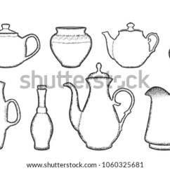 Kitchen Vessels Set Green Rugs Teapot Coffee Pot Stock Vector Royalty Free Of Bottles Beverage Containers Black