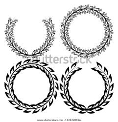 Set Line Leaf Circle Frames Illustration Stock Vector Royalty Free 1124220896