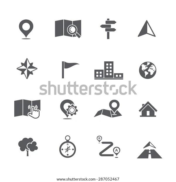 Set Map Navigation Icon Vector Illustration Stock Vector