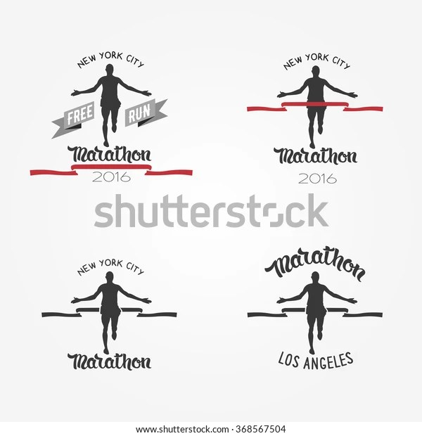 Set Marathon Logotypes Long Distance Running Stock Vector