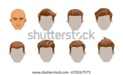 set men cartoon hairstyles collection