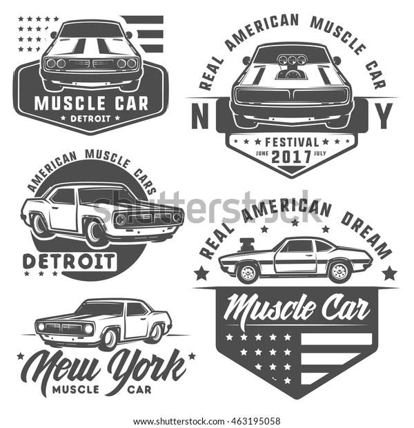 Set Muscle Car Logo Emblemsretro Vintage Stock Vector