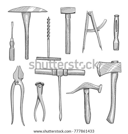 Set Old Hand Tools Manual Workshops Vector de stock (libre