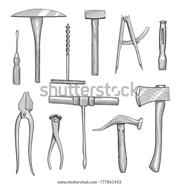 Set Old Hand Tools Manual Workshops Stock Vector (Royalty