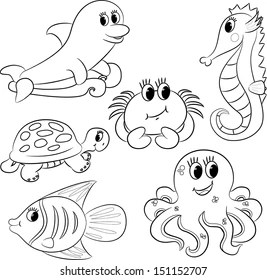Sea Animal Outline Images, Stock Photos & Vectors