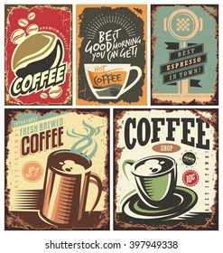 https www shutterstock com image vector set retro coffee tin signs posters 397949338