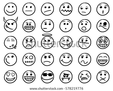 Set Smiley Emoticon Icons Drawings Doodles Stock Vector