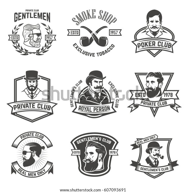Set Smokers Club Gentlemen Club Labels Stock Vector