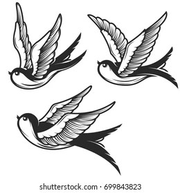 Traditional Swallow Tattoo Black And Grey