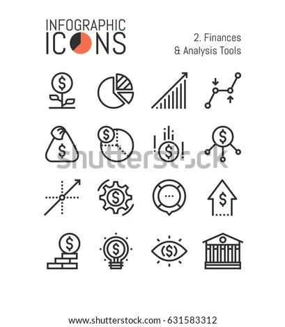 Set Thin Line Icons Finances Analysis Stock Vector