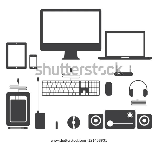 Set Vector Electronic Device Icons Websites Stock Vector