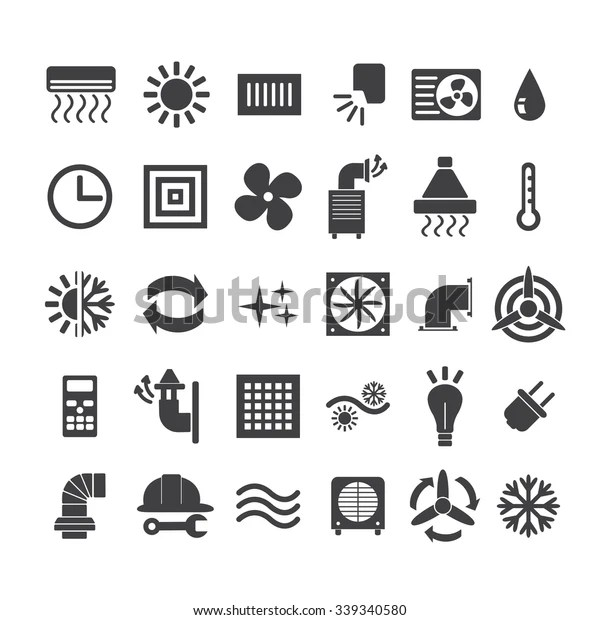 Set Ventilation Conditioning System Icon Line Stock Vector
