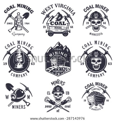 Set Vintage Coal Mining Emblems Labels Stock Vector