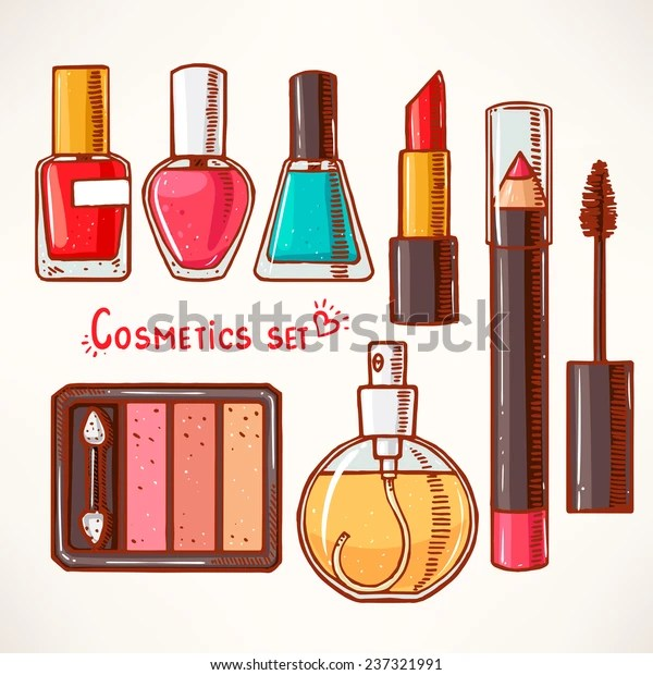 set with woman's decorative cosmetics. hand-drawn.