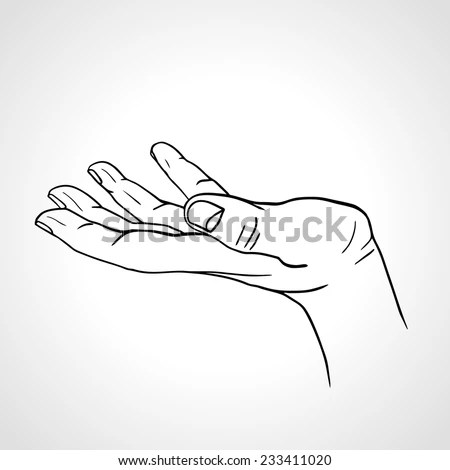 Side View Line Art Hand Palm Stock Vector (Royalty Free