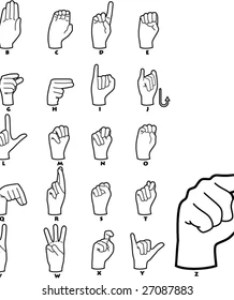 Sign language alphabet vector illustrations also images stock photos  vectors shutterstock rh
