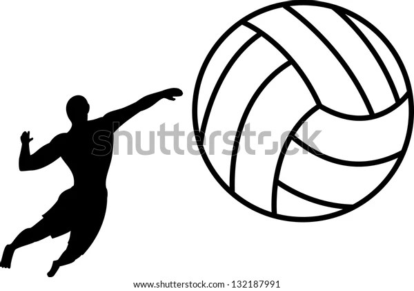 Silhouette Beach Volley Stock Vector (Royalty Free) 132187991