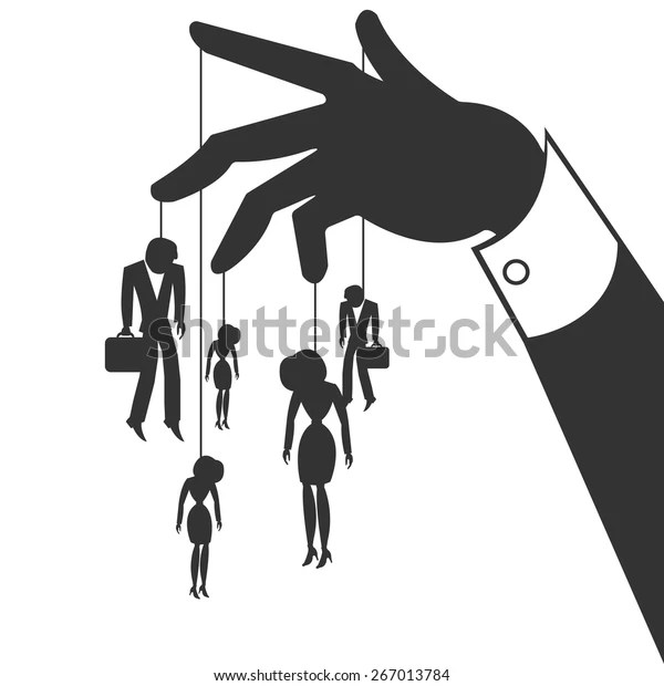 Silhouette Hand That Controls Businessmen Stock Vector