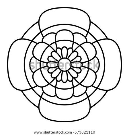 Simple Floral Mandala Pattern Coloring Book 스톡 벡터(사용료 없음